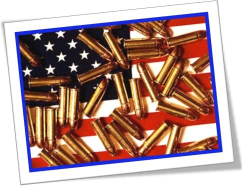 bandeira dos estados unidos e balas projetis, bandeira americana, armamento