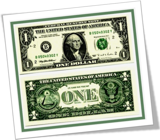 a dollar bil, one dollar, us currency, american dollar