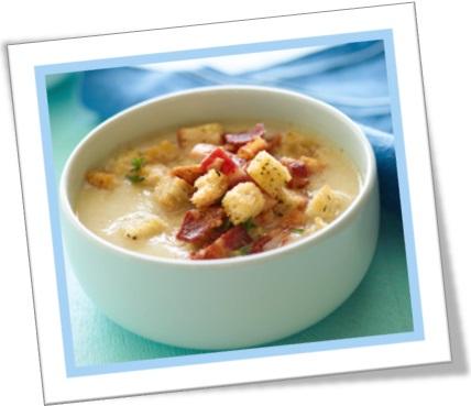 croutons na sopa, jantar, refeição, torrada na sopa, cubinhos de pão