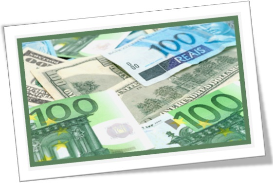 euro, dollar, brazilian real and currencies of the world