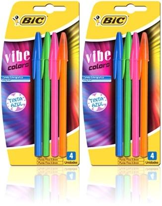 canetas esferográficas bic vibe colors tinta azul
