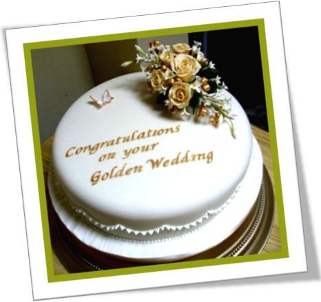 bolo de bodas de ouro, congratulations on your golden wedding anniversary cake