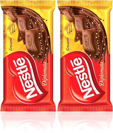 barra de chocolate nestle diplomata crocante com amendoim, castanha de caju ou floco de arroz