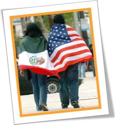 bandeiras do méxico e dos estados unidos, imigrantes mexicanos