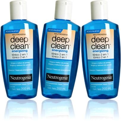 tônico energizing deep clean neutrogena limpeza redução poros da pele