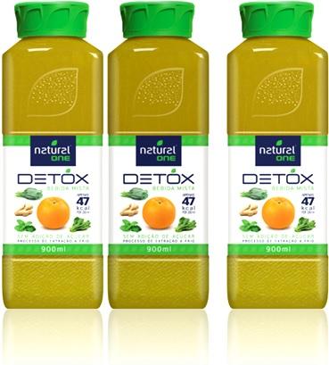 bebida mista detox natural one, laranja, couve, espinafre, gengibre, hortelã