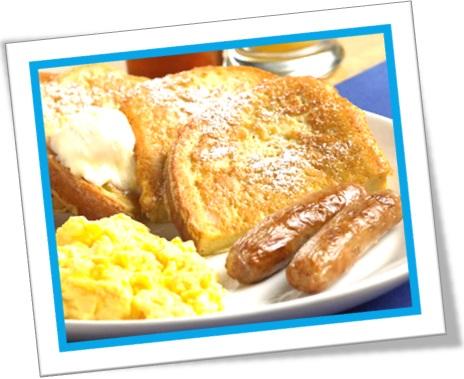 french toast, rabanada, torrada francesa, ovos linguiças, café da manhã
