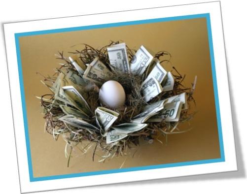 feather ones own nest, juntar dinheiro, enriquecer, ninho com ovo e dinheiro