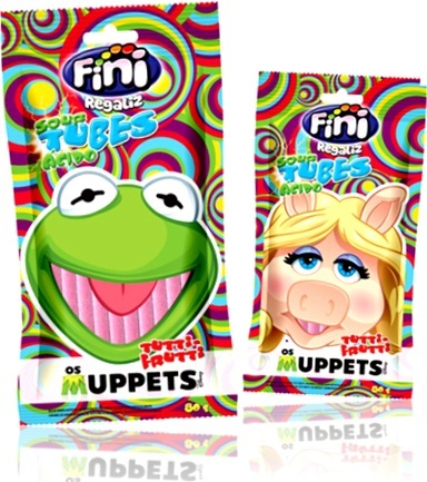 fini regaliz sour tubes ácidos os muppets sabor tutti-frutti