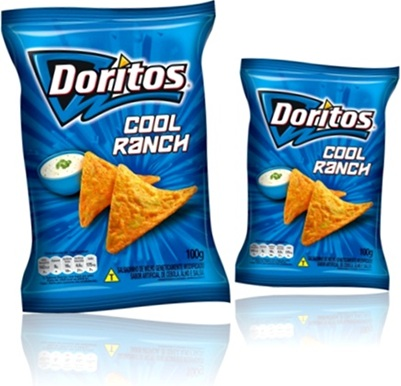 lanche, salgadinhos doritos cool ranch, milho geneticamente modificado