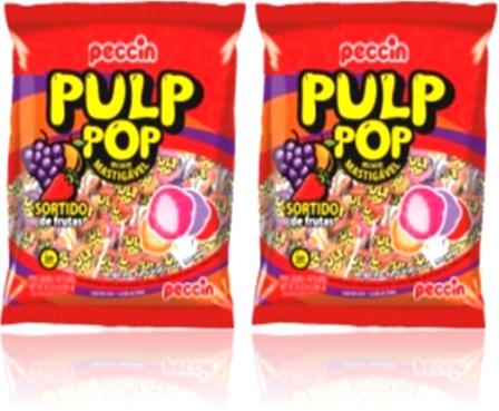 pirulitos mastigável pulp pop peccin sabores uva, laranja, morango cereja