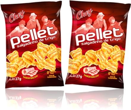 lanches, produtos okeyzitos, salgadinhos de trigo pellet okeyzitos sabor bacon