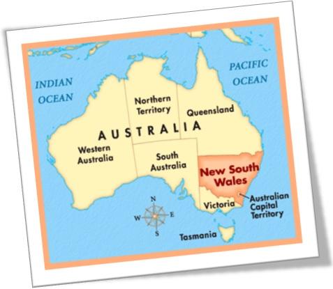 nova gales do sul, new south wales, mapa da australia, inglês australiano