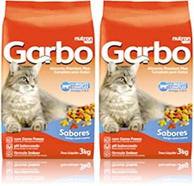 ração garbo para gatos marca nutron pet, sabores carne, frango e peixe