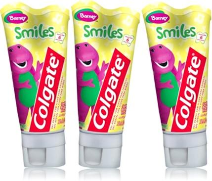 creme dental colgate barney smiles, gel dental, dentes, crianças