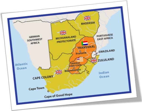 inglês sul-africano, mapa da áfrica do sul mostrando colônias britânicas e repúblicas bôeres
