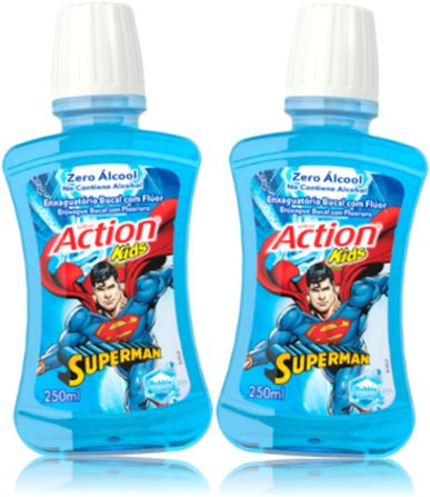 action kids superman, super man, enxaguatório bucal com fluor zero álcool