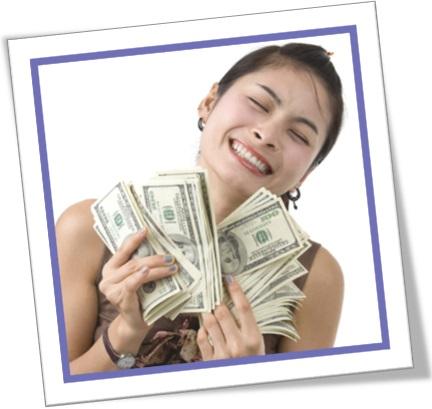 mulher com maço de dólares, newly rich, novo rico, noveau riche