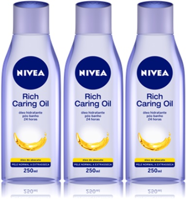 nivea rich caring oil óleo hidratante pós banho