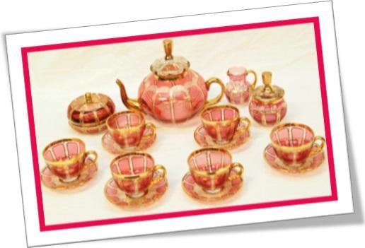 cranberry glass tea set, jogo de chá de vidro cranberry