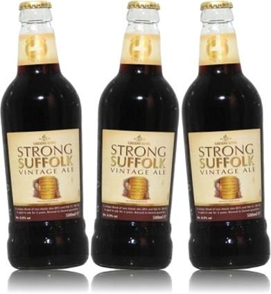 greene king, strong suffolk vintage ale, garrafa de cerveja importada inglesa