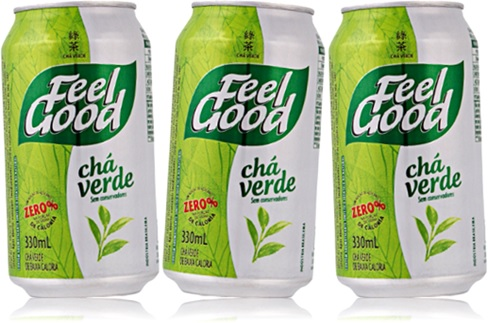 lata de chá verde feel good, bebida quente, cans of green tea