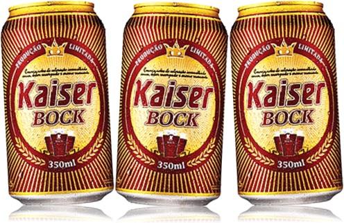 latas de cerveja kaiser bock, cerveja escura, dark beer