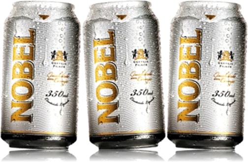 latas de cerveja nobel, pronúncia de nobel, loira gelada, bebida alcoólica
