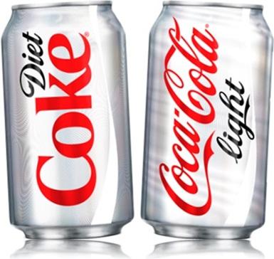 latas de refrigerantes diet coke e coca cola light, refrigerantes diet e light