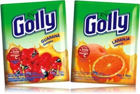 refresco em pó, golly, sabores frutas guaraná e laranja, suco