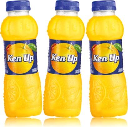 garrafa de suco de laranja ken up ultrapan, laranja no rótulo