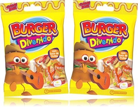 burger divertido aladim bala de gelatina com suco de frutas