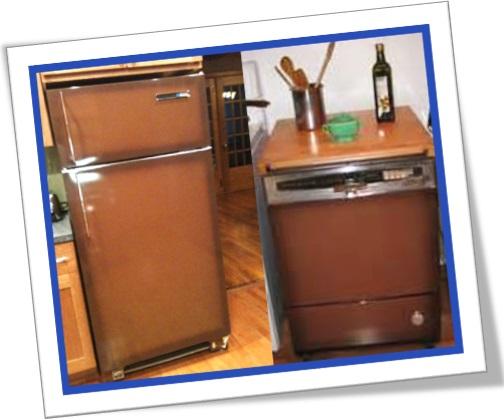 coppertone fridge, coppertoned dishwasher, coppertoned appliances