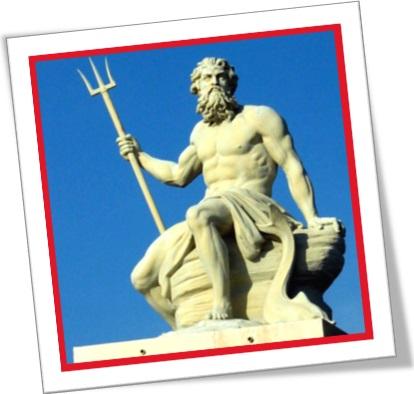 escultura do deus grego posídon com seu tridente em copenhagen, deus netuno