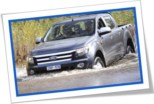 ford ranger, veículo, carro, automóvel cruzando rio