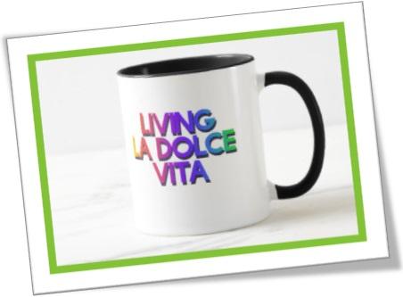 caneca, copo, living la dolce vita, doce vida, sweet life