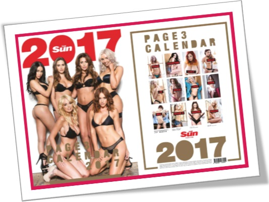 page three girls, naked woman, calendar, the sun