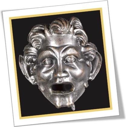 mitologia grega, máscara de pã em bronze, pan mask in bronze