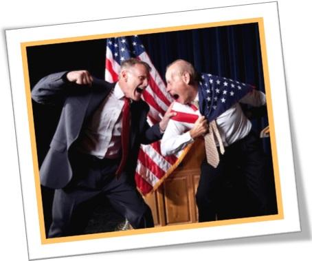 políticos norte-americanos, bandeira dos EUA, briga de políticos
