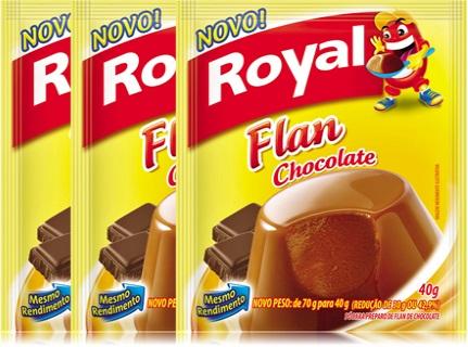 sobremesa, flã, pó preparo flan royal sabor chocolate