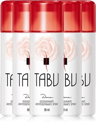 desodorante feminino tabu perfumado, rosa, spray, antitranspirante, taboo