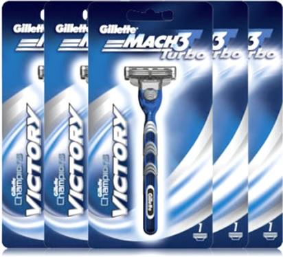 aparelho e lâmina de barbear gillette mach 3 turbo victory