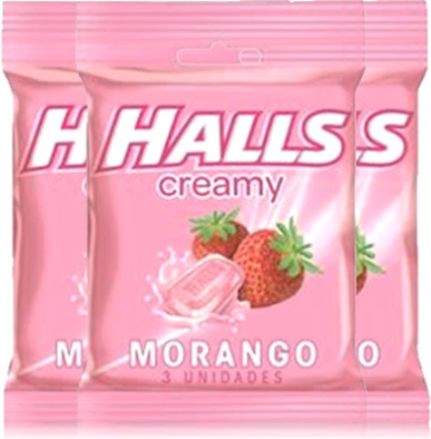 pastilhas halls creamy sabor morango, doce, bala