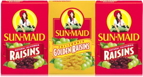 sun maid natural california raisins and golden raisins