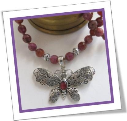 silver neclace, butterfly, rubies, jewel, joia, corrente