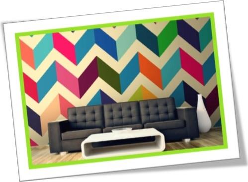 zigzag decoration, decoração ziguezague colorida, sala decorada mesa, sofá