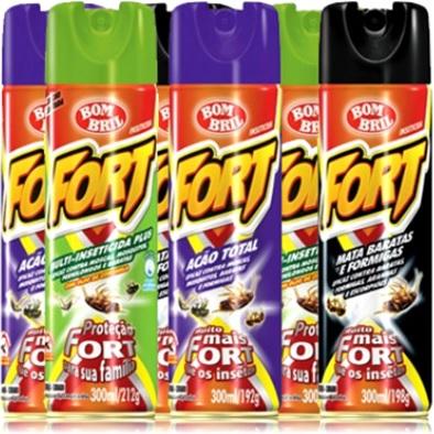 latas de inseticida aerossol fort bombril mata baratas, formigas, moscas, mosquitos