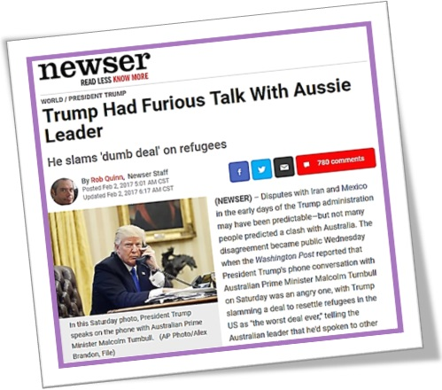 news, newser trump had furious talk with aussie leader