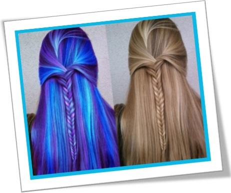 photoshopped hair, cabelo photoshopado, cabelos azuis e castanhos