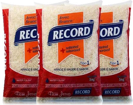 pacotes de arroz branco, record, arrozeiro bom jesus
